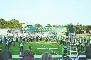 SIERRA MURPHY/THE ARKA TECH: The Arkansas Tech University Band of Distinction performs before kickoff at Thone Stadium at Buerkle Field at a recent home game.