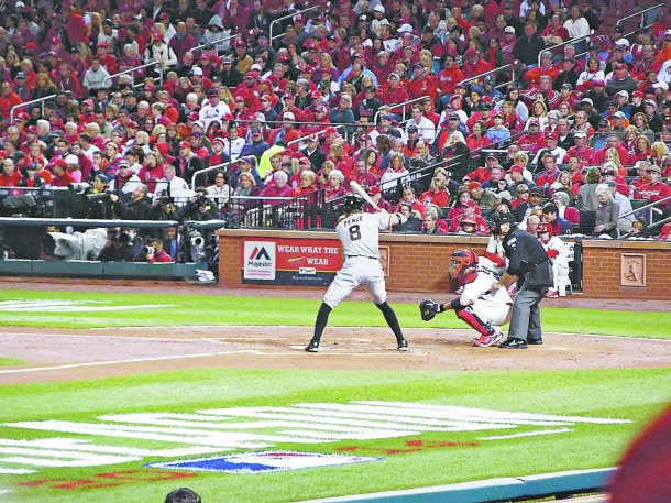 LAURA BEAN/THE ARKA TECH: Hunter Pence of the Giants at bat during Game 1 of the National League Championship Series with the St. Louis Cardinals.