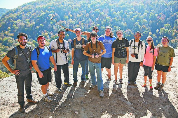 AUSTIN SMITH/THE ARKA TECH: Tech students enjoyed the scenic views after hiking to Hawksbill Crag during an outdoor recreation trip.
