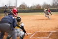 JENN TERRELL/THE ARKA TECH: Victoria Huie throws a pitch to a Pittsburg State Gorilla and Tech catcher Miranda Dupree.