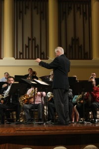ASHLEY PEARSON/THE ARKA TECH: Andy Anders conducted the 50th anniversary brass choir celebration.