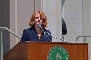 LAURA BEAN/THE ARKA TECH: Dr. Robin Bowen addresses the audience last spring after being named president of the university.